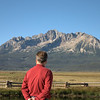 Stanley admiring the mountains in Stanley, Idaho.