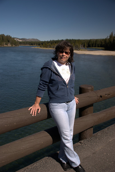 Lynne at Fishing Bridge