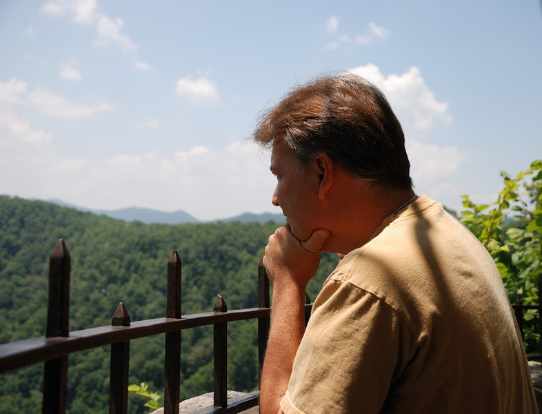 Stan enjoying the view from Hawks Nest State Park Overlook