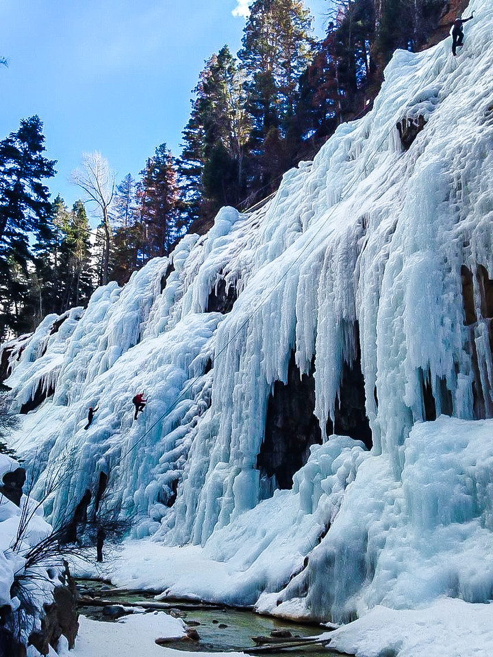 Climbers exploring the water ice at the Ouray Ice Park, CO. Fullsized