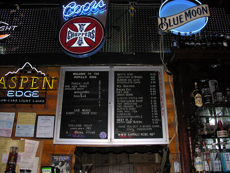 We spend an afternoon at the Buffalo Rose. 'Tater skins and cold Coors, good eats for weary travelers.