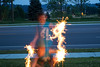 Ghost boy with sparklers