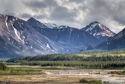 Braided river valley on the Denali National Park Tundra tour.