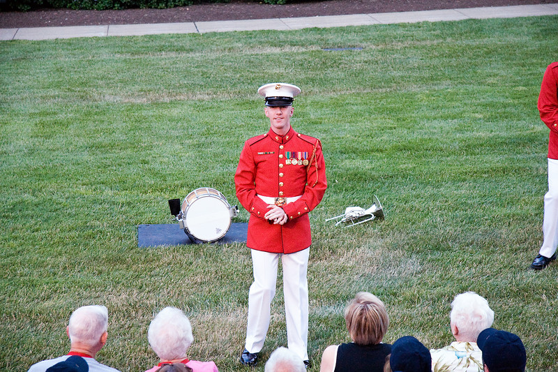 """A member of the """"Presidents Own""""  Marine Band and also our guide of the evenings events."""