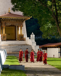 "Rush Hour at Punakha Dzong This photo was taken in October 2008 in Bhutan. The Punakha Dzong was the place the new King would be coronated two weeks after our visit. This, like other Dzongs was ""Chock full of Monks."""