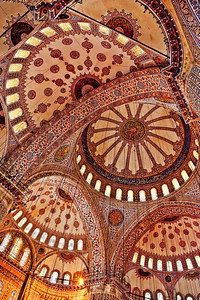 Blue Mosque - Istanbul Turkey In Italy (for example) when you visit tourist sites, many are beautiful cathedrals (Duomos). When you're in Turkey, many are beautiful mosques. In both cases I love to look at the ceilings and this one was certainly worth gazing at for quite time.