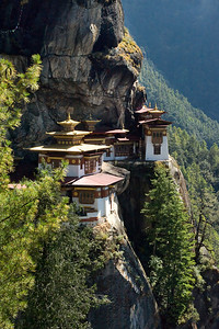 Tiger's Nest - Near Paro, Bhutan I took this photo in October 2008. To reach my present vantage point I had hiked for about 2 hours and gained about 1,800 vertical feet. This monastery is known in Bhutan as Taktshang Goemba.