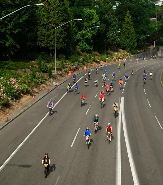 3-14-11 <b>Bridge Pedal, Portland, Oregon</b> - bikers on the freeway <br><br>