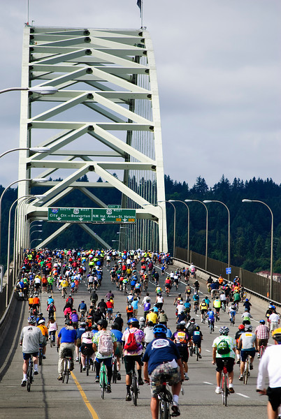 3-14-11 Bridge Pedal, Portland, Oregon - riding over the Fremont Bridge