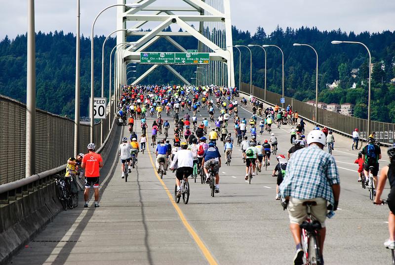 3-14-11 <b>Bridge Pedal, Portland, Oregon</b> - riding over the Fremont Bridge <br><br>