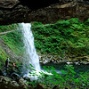 <b>Ponytail Falls from the back side </b> (underneath a rock outcropping - see other view)<br>Columbia Gorge <br>8-14-10