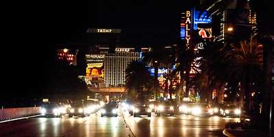 "In the 70's there used to be a sign on road out of Seattle; ""Will the last person out of town, please turn off the lights."" It was because the economy, which was Boeing dominated at the time, was bad and a lot of Boeing jobs were being cut. This kind of reminded me of that. The economy is bad in Nevada, and it's hurting the strip somewhat. (Single image)"