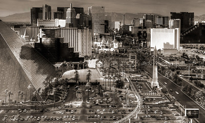 I stayed at the Mandalay Bay, where Photoshop World was held. This is the view from my room. The glass was dirty and it took quite a bit of effort to clean up the image. The glass is also coated with a golden colored tint. Shooting through it creates a nasty color cast, which is what motivated me to convert the image to black and white. I like this, like the detail in the photo. (HDR)