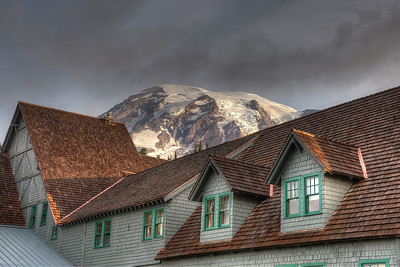 "From out the window of our room, looking back over the historic Inn at Paradise, toward the summit of Rainier. This was the only time the ""mountain was out"" and the only photo of it that not at least partially obscured by clouds."