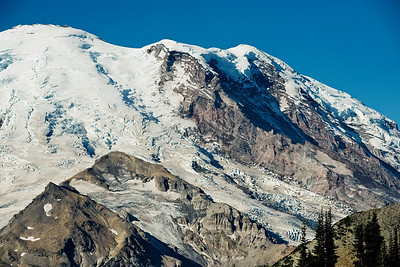 The glaciers of Mt Rainier are stunningly rugged. Crevasse filled late in the season with soft and crumbling ice late in the day. This is dangerous if you don't know very well what you're doing.