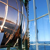 1-18-2009 <b>Fresnel lens, Yaquina Head Lighthouse, Oregon</b>  You can see the reflection of the coastline in the upper part of the lens.