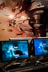 The EVE Online game (and many others) had workstations set up to demo the games and let attendees play them. The art behind the workstation was a game banner for the game.