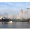 Foggy morning, Willamette R. and Downtown Portland  Portland, Oregon