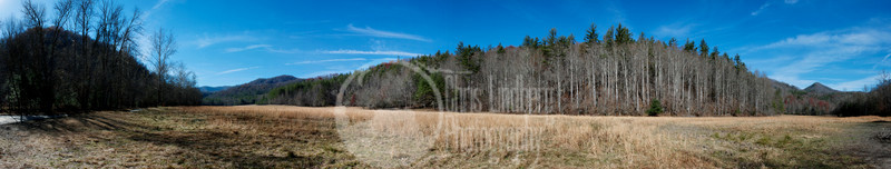 Panorama of a meadow at Cataloochee, Great Smoky Mountains National Park.