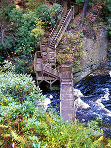 The view from above the catch basin and the elaborate stairway system Bushkill built to tour the natural wonders of Bushkill Falls...
