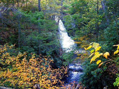 The view up the gorge towards Bushkill's Main Falls