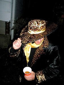 You've got to admire a guy that has the stones to wear a hat and a coat like that. And, I have it on good authority, that Patrick actually killed the leopard, skinned it, and made his own clothes in home economics class.  This is a multi-talented guy!