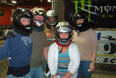 Diane, Ian, Rob in the very back, Diane of the very heavy foot in the gray helmet, and Valerie all ready to go back on the race track.