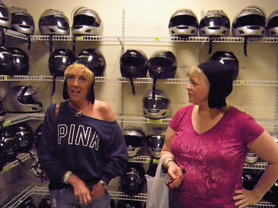 The way Diane and Cindy are picking out their helmets you'd think it was a fashion statement.
