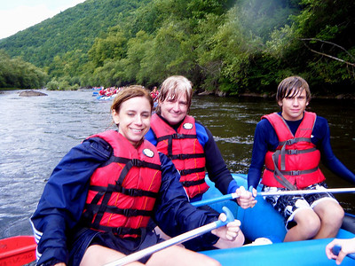 Three drowned rats - Mary Lou, Chris, and Ryan.  Why is Mary Lou the only one smiling?