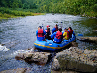 Paul, Kathy, Tom, Carl, Jocelyn and Mai Ling just before they were shoved into the rapids.