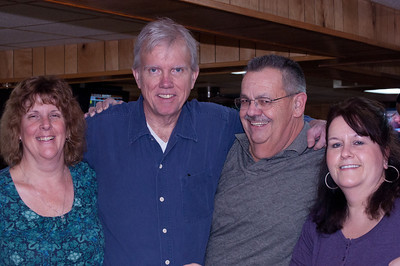 Jen, Steven, Rick and Nancy share a calm moment before the big event. What big event? Where have you been? Bowling at the Saengerbund!