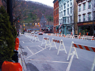 The Jim Thorpe Saint Patty's Day parade route at 9:30 in the morning