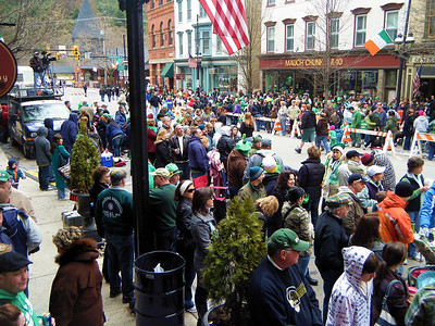 The Jim Thorpe Saint Patty's Day parade route at 1:00 pm.