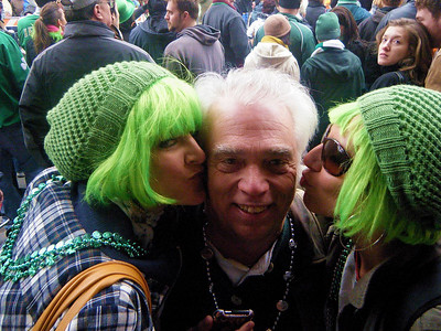Nobody but Barry could get kissed by two gorgeous green-haired girls one-third his age.