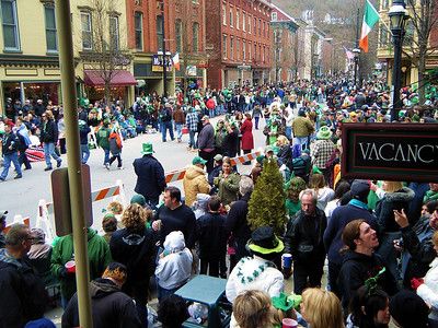 The Jim Thorpe Saint Patty's Day parade route at 1:00 pm.  Oh what a difference.
