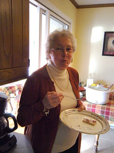 Marion, my neighbor, at Jodi's Thanksgiving Brunch