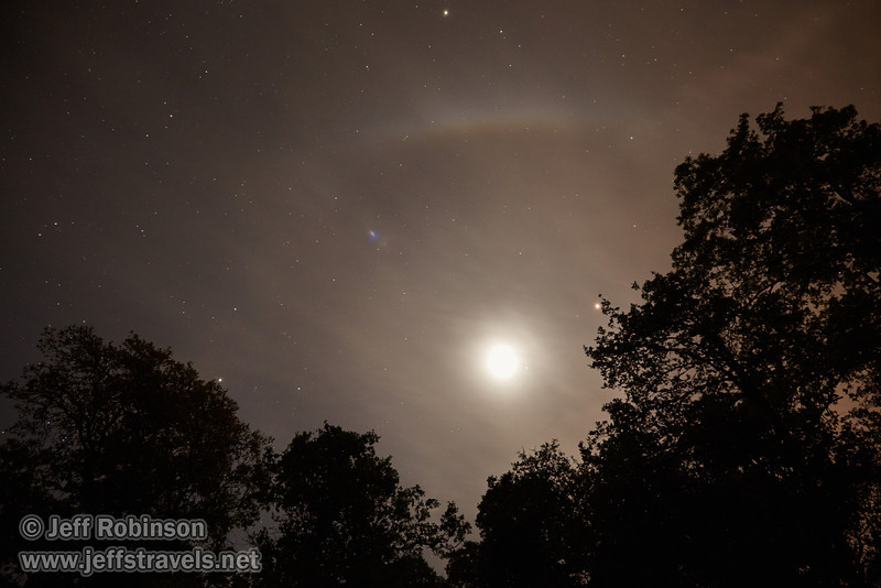 This is one of my favorite shots of the night, even though you can't tell the moon is in eclipse. It was the lightest photo of an HDR sequence (that didn't work out for HDR) of a wide shot of the moon a little after total eclipse, with Mars above and to the right (just under the tip of a tree branch), and oak trees in the foreground (4/15/2014)<br /> EF24-105mm f/4L IS USM @ 24mm f4 15s ISO3200