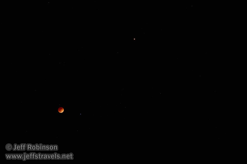 The moon in total eclipse with a star to its right, and Mars above and farther to the right (4/15/2014)<br /> EF24-105mm f/4L IS USM @ 85mm f4 4s ISO400
