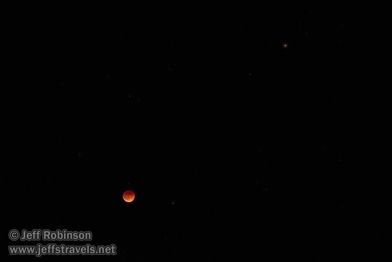 The moon in total eclipse with a star to its right, and Mars above and farther to the right (4/15/2014)<br /> EF70-200mm f/2.8L IS II USM @ 120mm f4 1s ISO1600