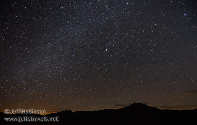 Stars: southerly view with Sirius as the bright star near the center by the edge of the Milky Way. Photographed from the end of the pavement on Death Valley Rd. (3/10/2016, Eureka Dunes drive, Death Valley trip)<br /> EF16-35mm f/4L IS USM @ 16mm f4 30s ISO6400