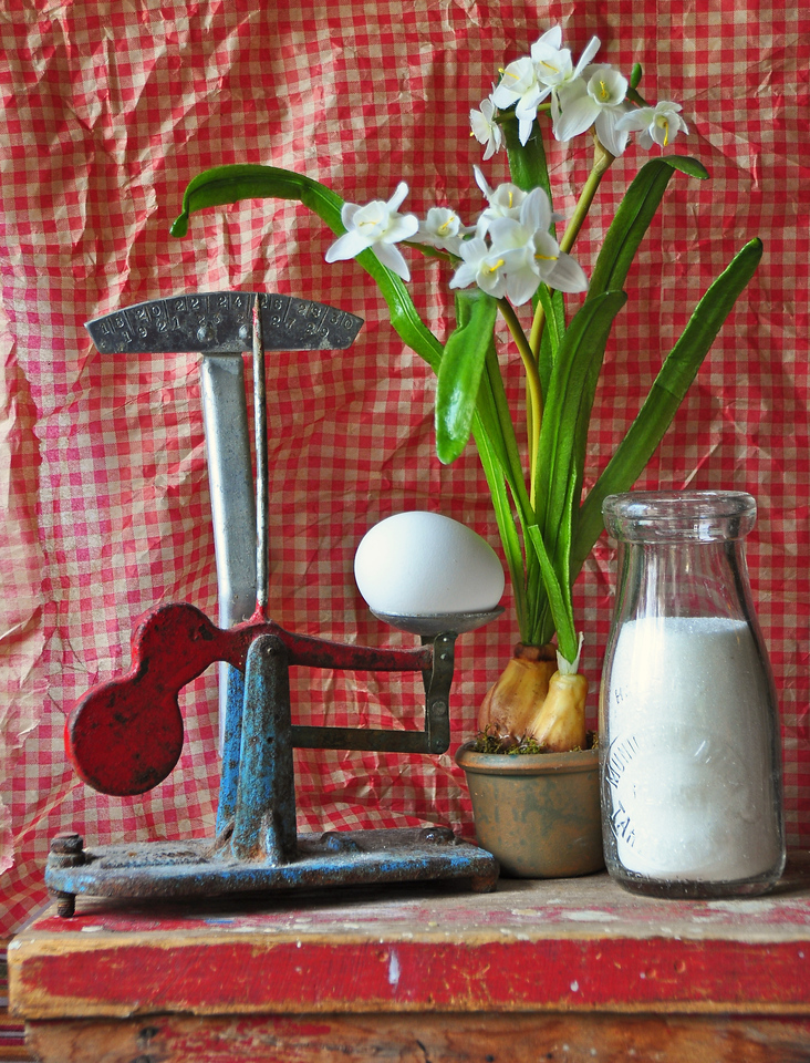 Window Light-Kathy Green-Antique Egg Scale and Old Milk Bottle