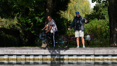 Fishermen and passer by - Kennet & Avon Canal Newbury Berkshire