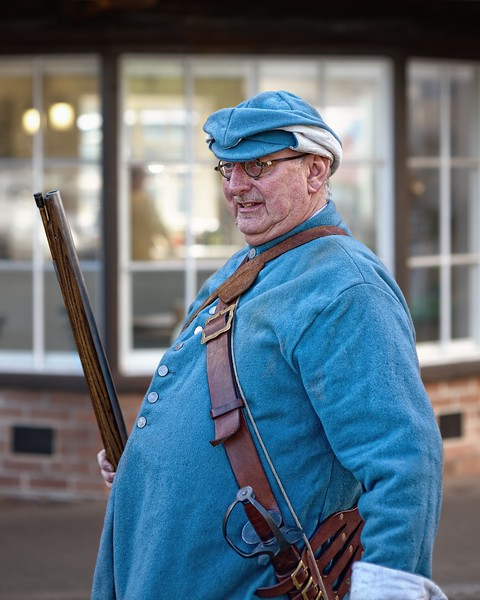 Newbury Roundhead reenactor with musket clr