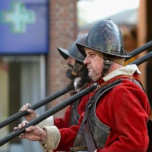 Newbury Roundhead reenactor with Pike