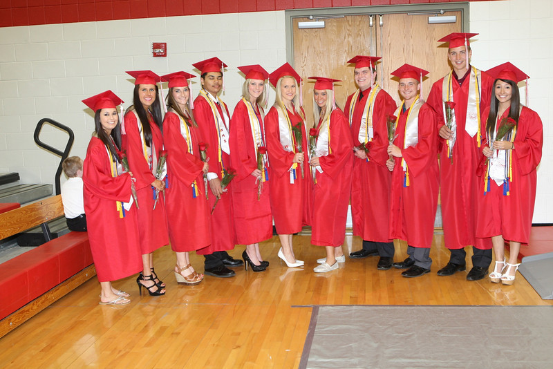 The top 10 students from the class of 2013, from left, Jessica Russell, Megan Amrein, Megan Campbell, Alberto Chandler, Meghan Gilkey, Shanlyn Hefley, Kailey Jenkins, Billy King, Devin McCue, Brian Peck, and Lexi Zavala.