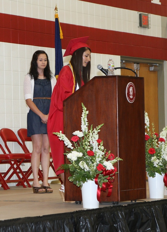 2013 WHS Class President Lexi Zavala gives speech to incoming Class of 2014. Gracie Defore is next year's class Presidenet.