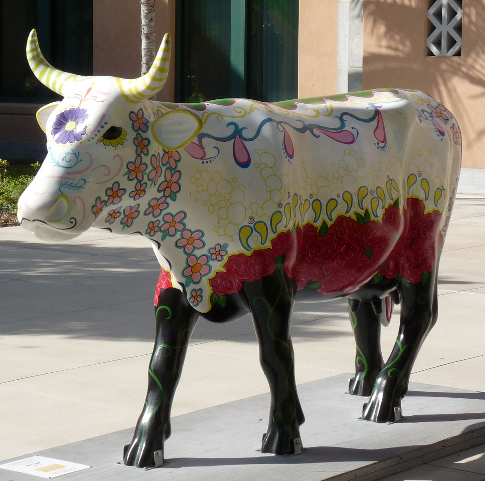 I don't know the name of this one -- it was near the beginning and I wasn't making note of the names when I first started shooting them.<br /> <br /> But, you gotta love a cow all decorated in flowers and paisleys, and sporting a villainous Frenchy mustache!