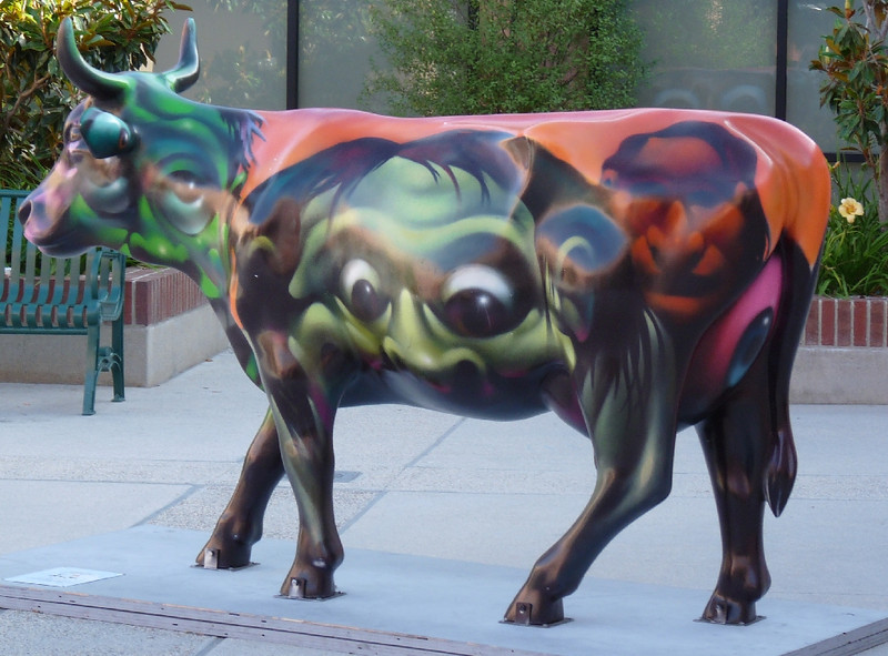"""""""Primal Cut"""", one of the most complex and haunting of the cows.  A lot of depth in this painting."""