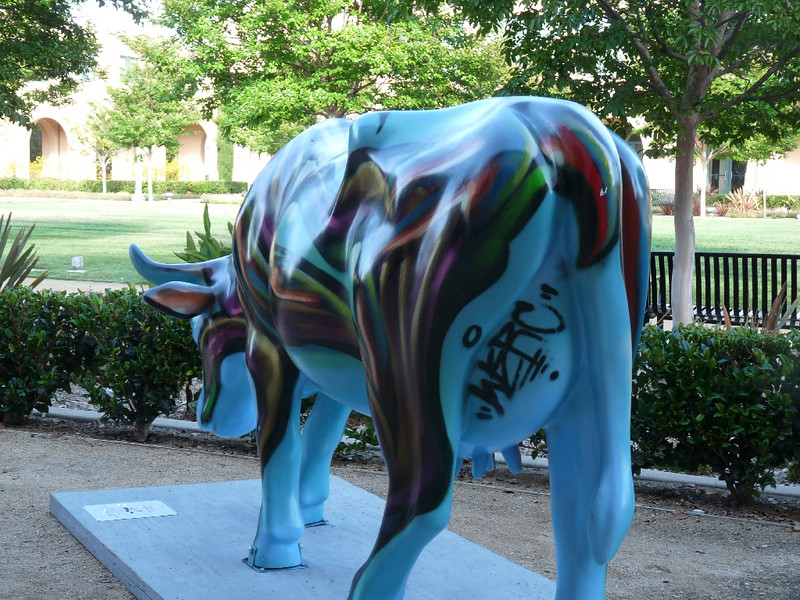 """Crow Cow""  (I assume so-called because it's by artist Isaisas Crow)<br /> <br /> Cows with graffiti on their utters are few and far between, doncha know."