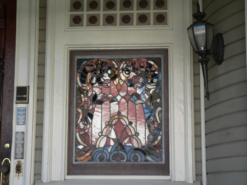 Stained glass windows don't usually show their colors when photographed from the outside.